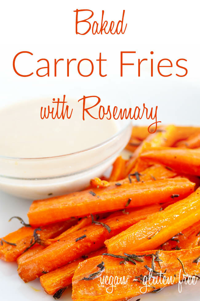 Baked Carrot Fries with Rosemary photo with text.