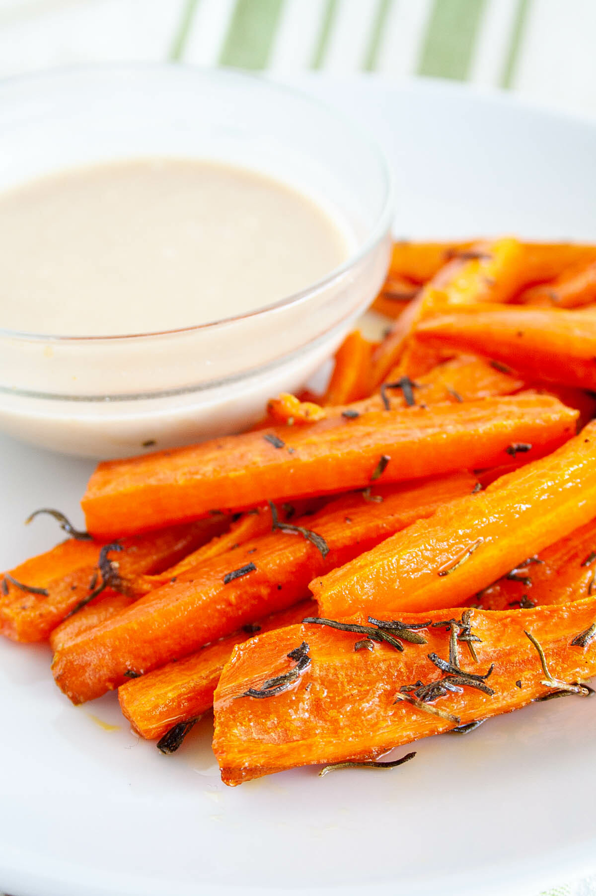 Baked Carrot Fries with Rosemary close up.