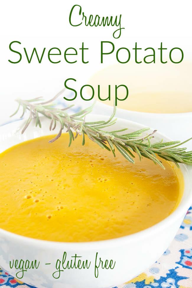 Creamy Sweet Potato Rosemary Soup photo with text.