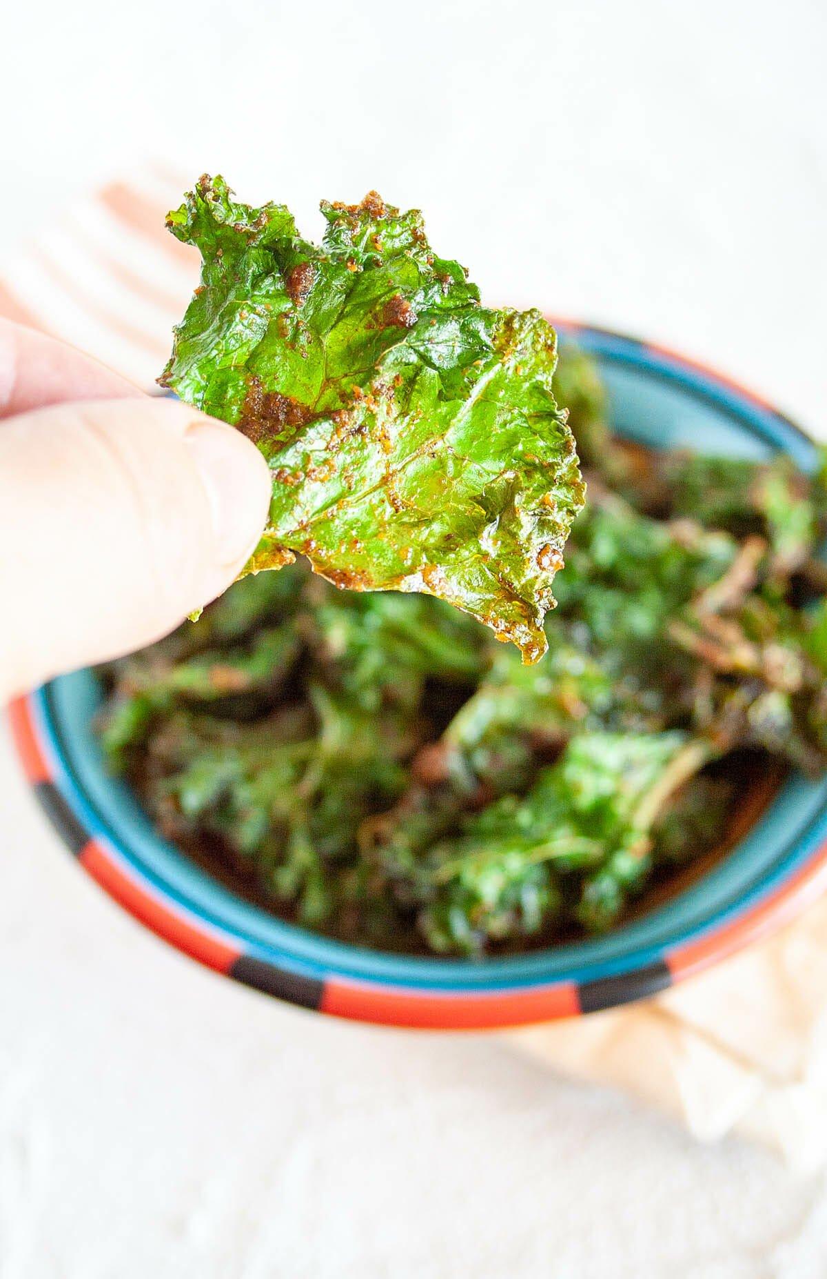 Nacho Kale Chip in my hand.