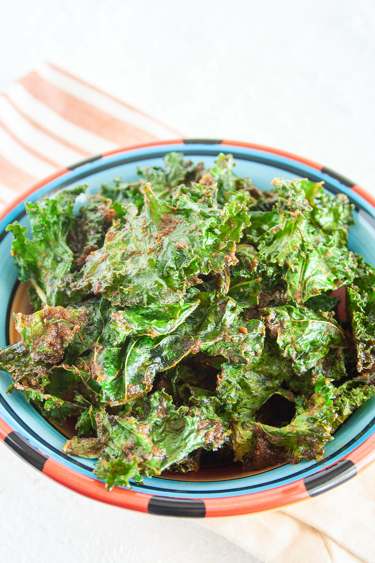 Nacho Kale Chips in a bowl.