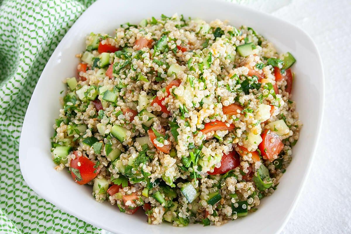 Quinoa Tabbouleh close up.