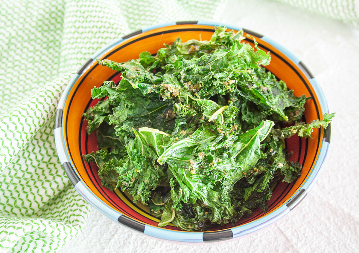 Ranch Kale Chips close up.