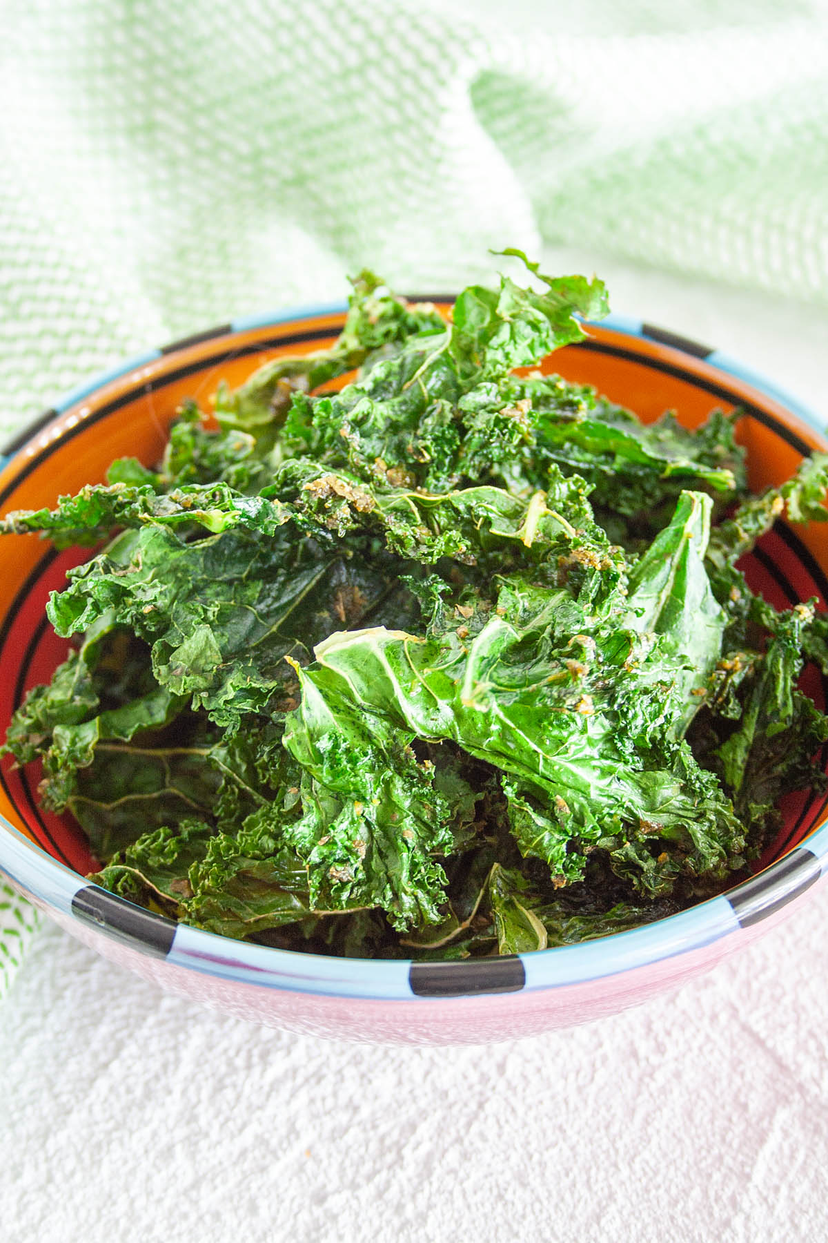 Ranch Kale Chips in a bowl.