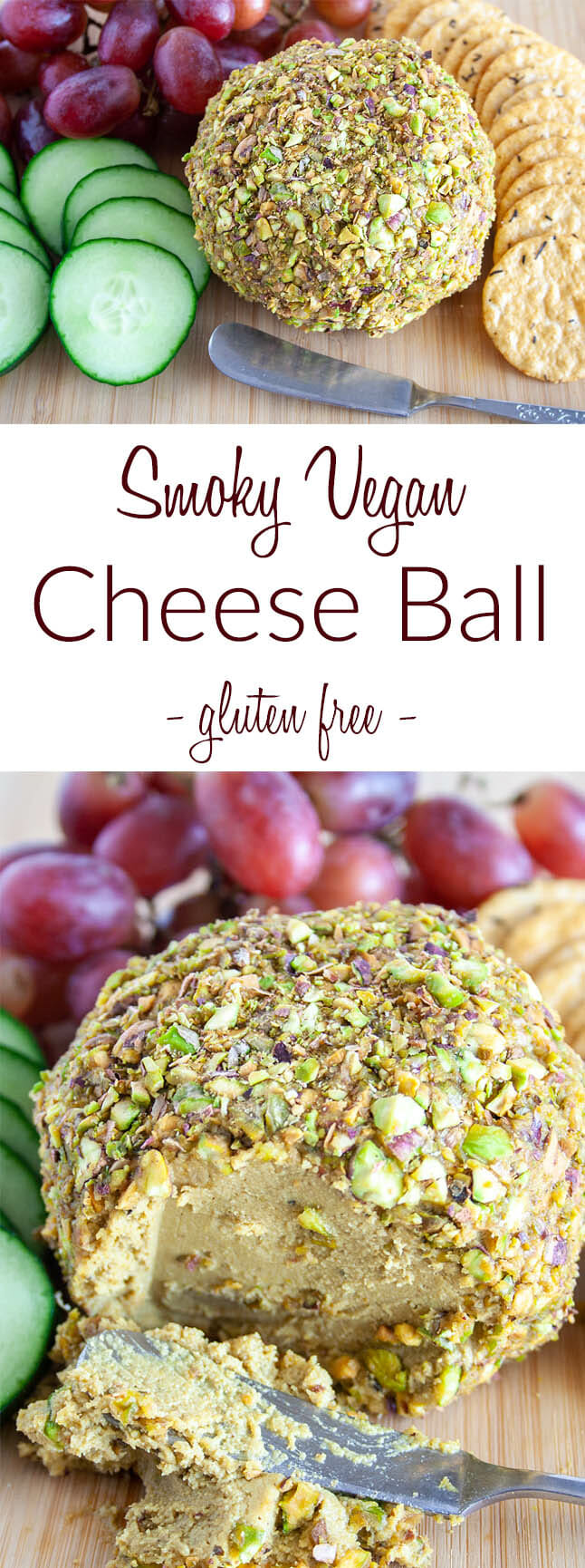 Smoky Vegan Cheese Ball collage photo with text.