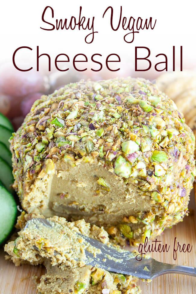 Smoky Vegan Cheese Ball photo with text.