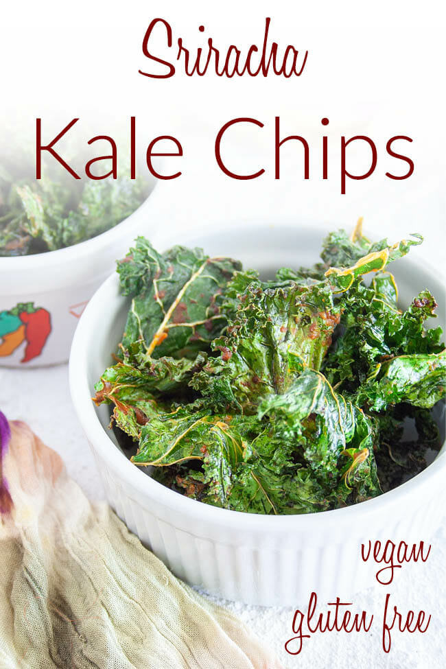 Sriracha Kale Chips photo with text.