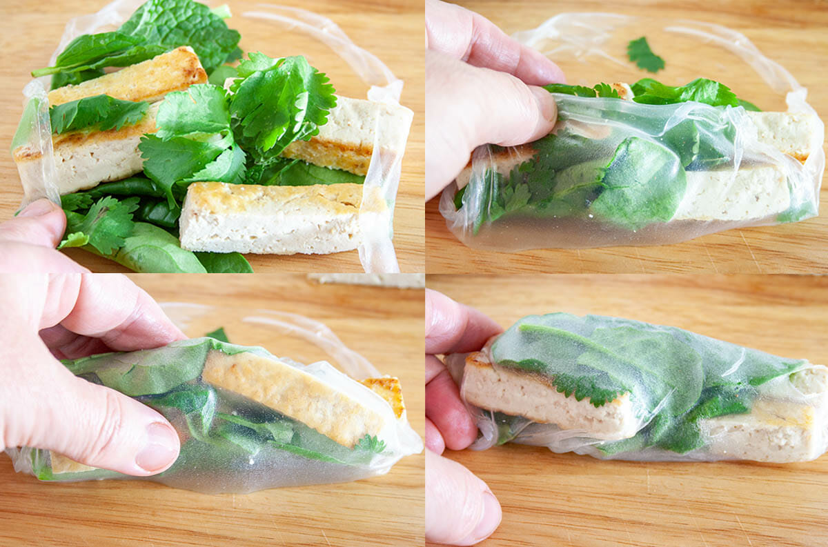 Stages of Tofu Spring Rolls being rolled on cutting board.