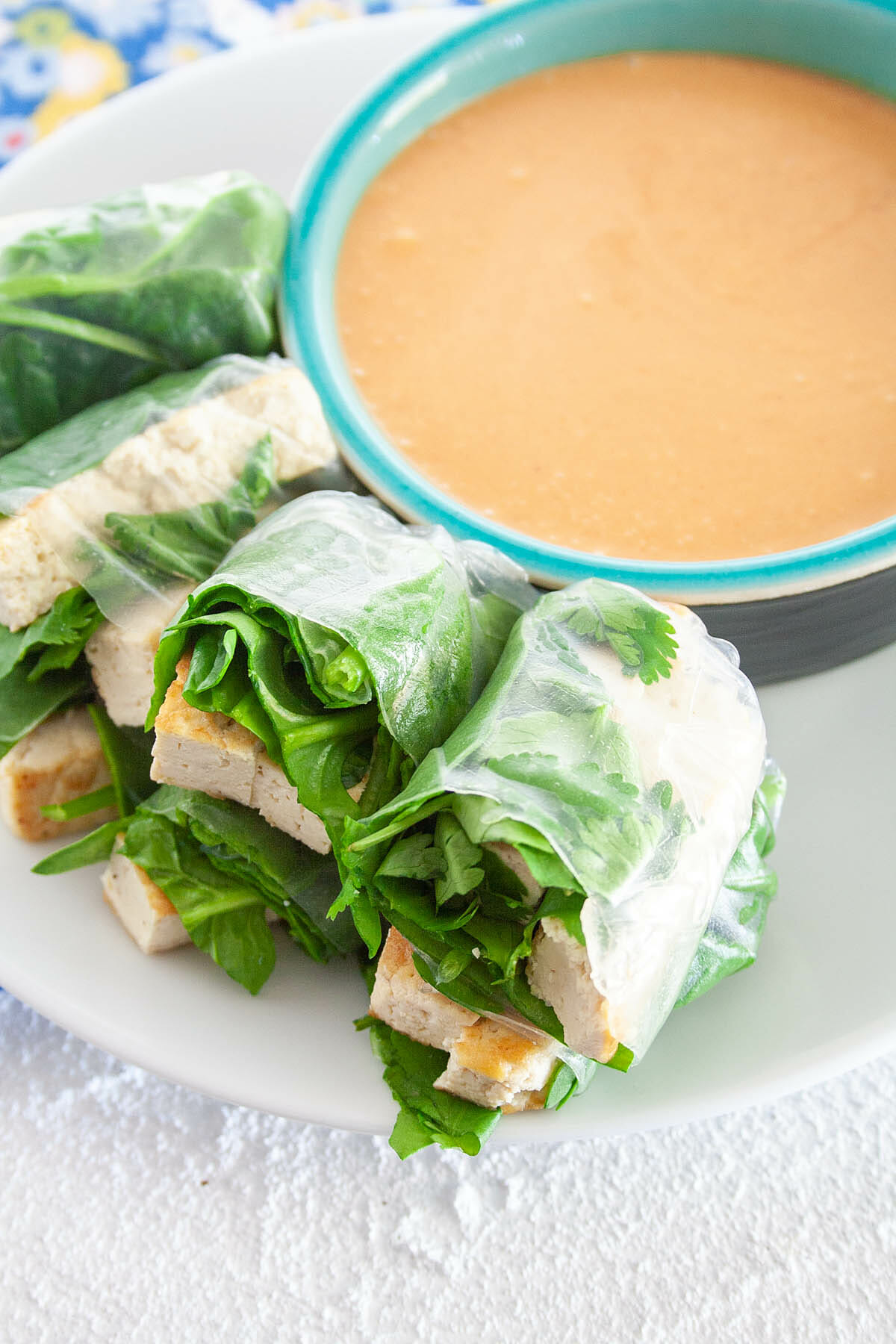 Tofu Spring Rolls with Peanut Dipping Sauce on plate.