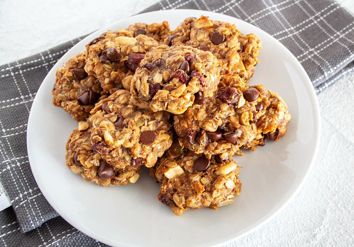 Trail Mix Cookies on a plate with napkin.