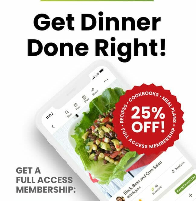 """Smart phone with photo of Prepear app. Text reads,"""" Get Dinner Done Right! Get a full access membership: cookbooks, meal plans, recipes (ad-free) 25% off!"""""""