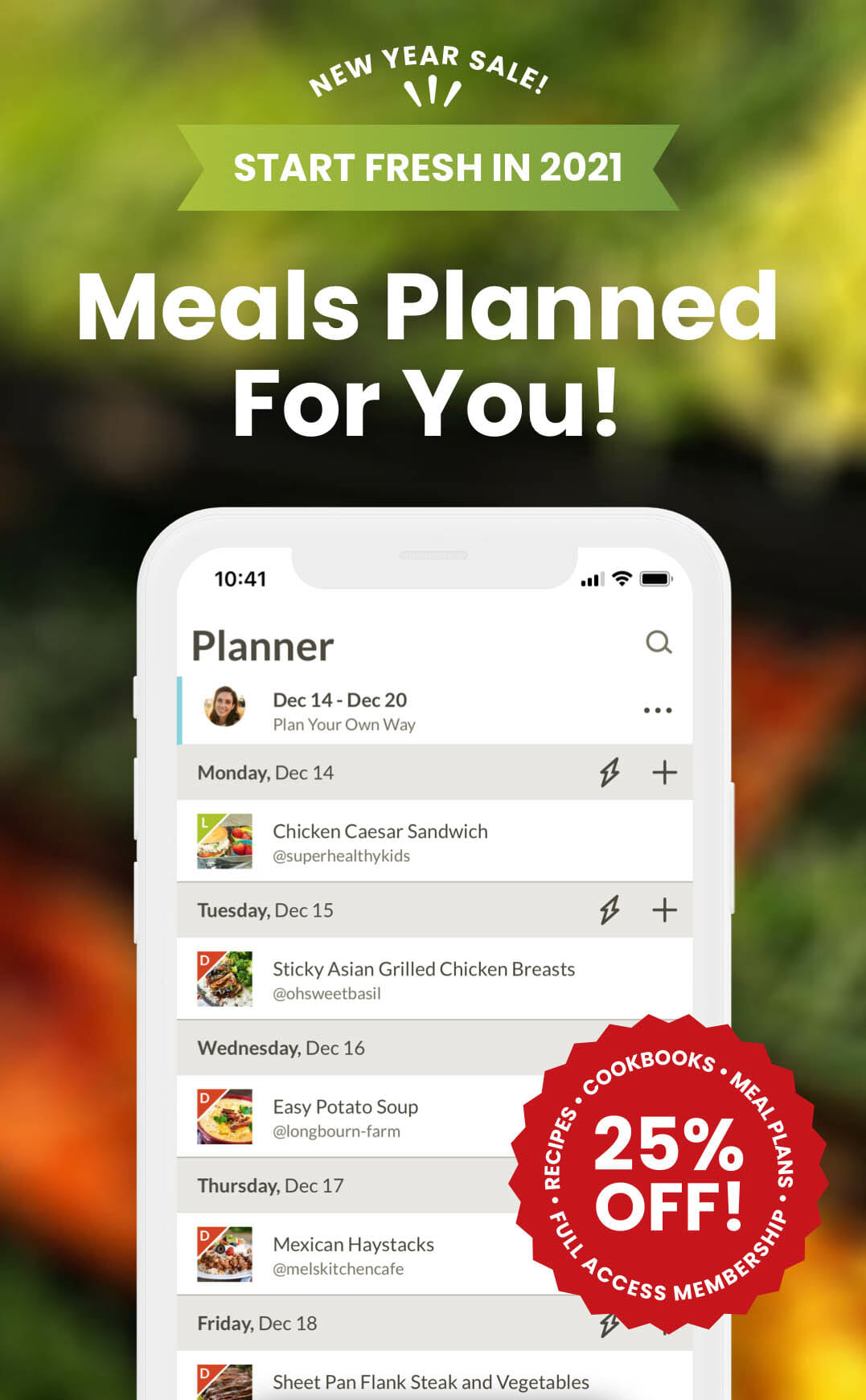 """Smart phone with photo of Prepear app. Text reads,"""" Meals Planned For You! 25% off!"""""""