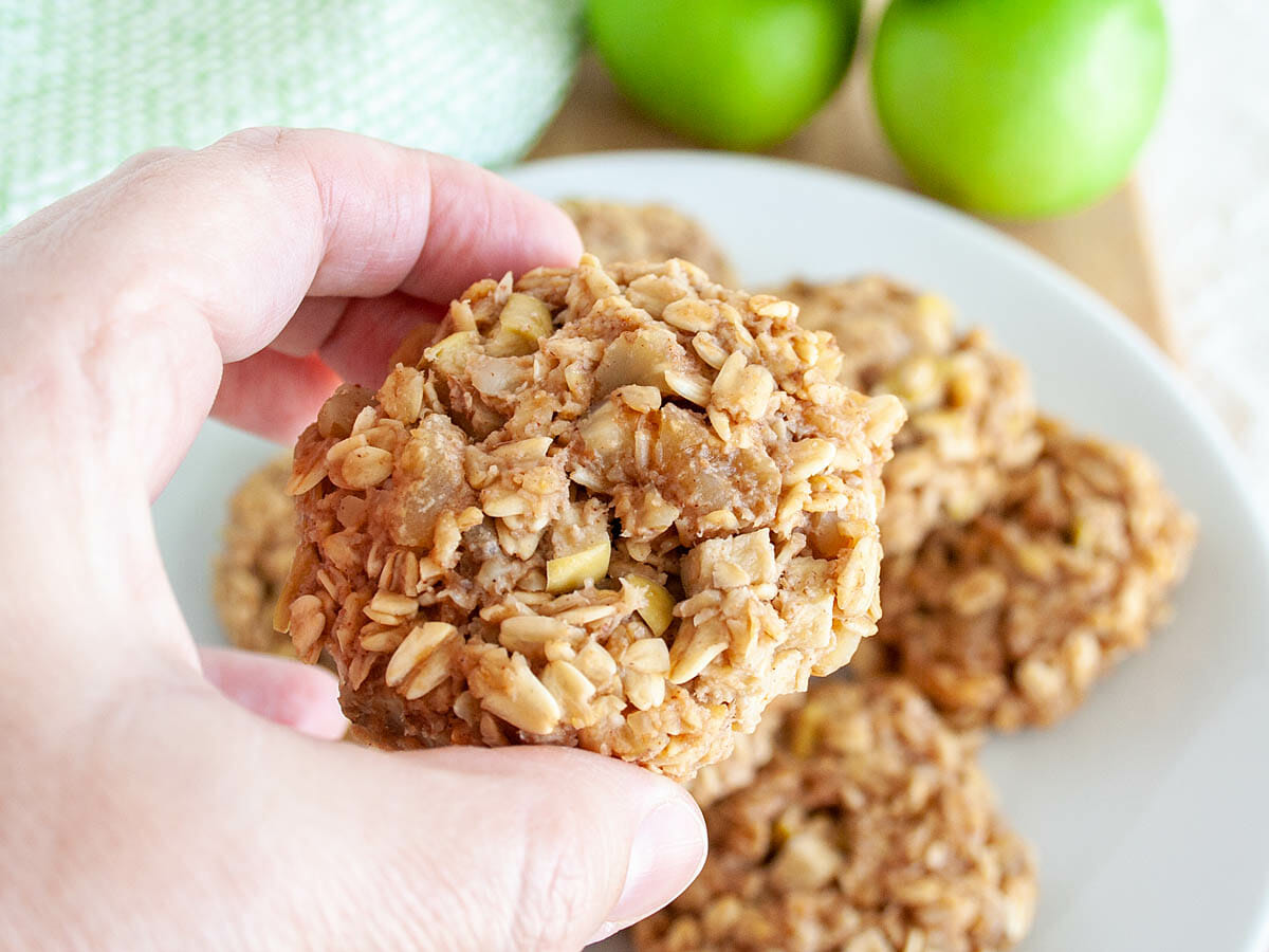 Apple Oatmeal Cookie in hand.