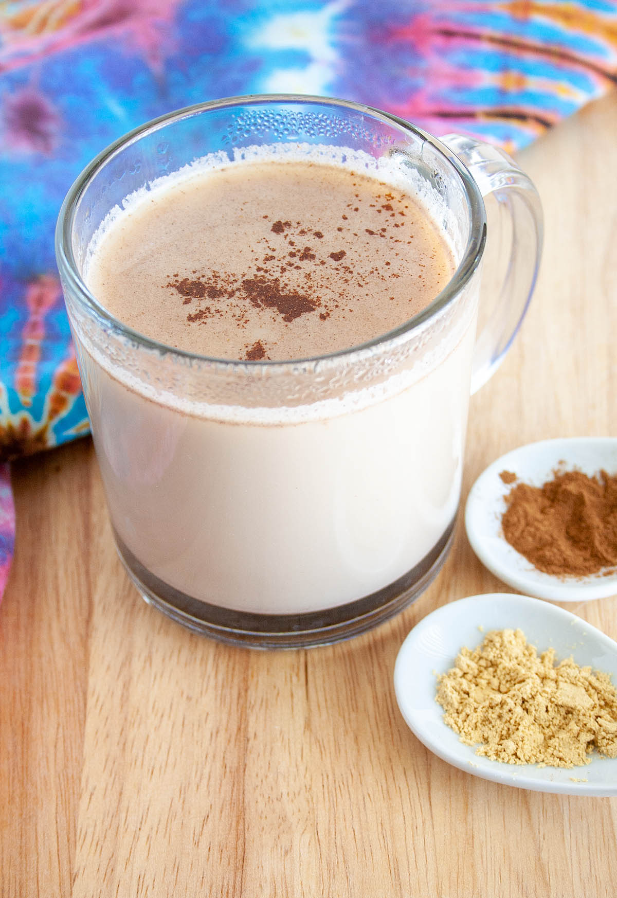 Spiced Almond Milk with spoonfuls of ground ginger and cinnamon.