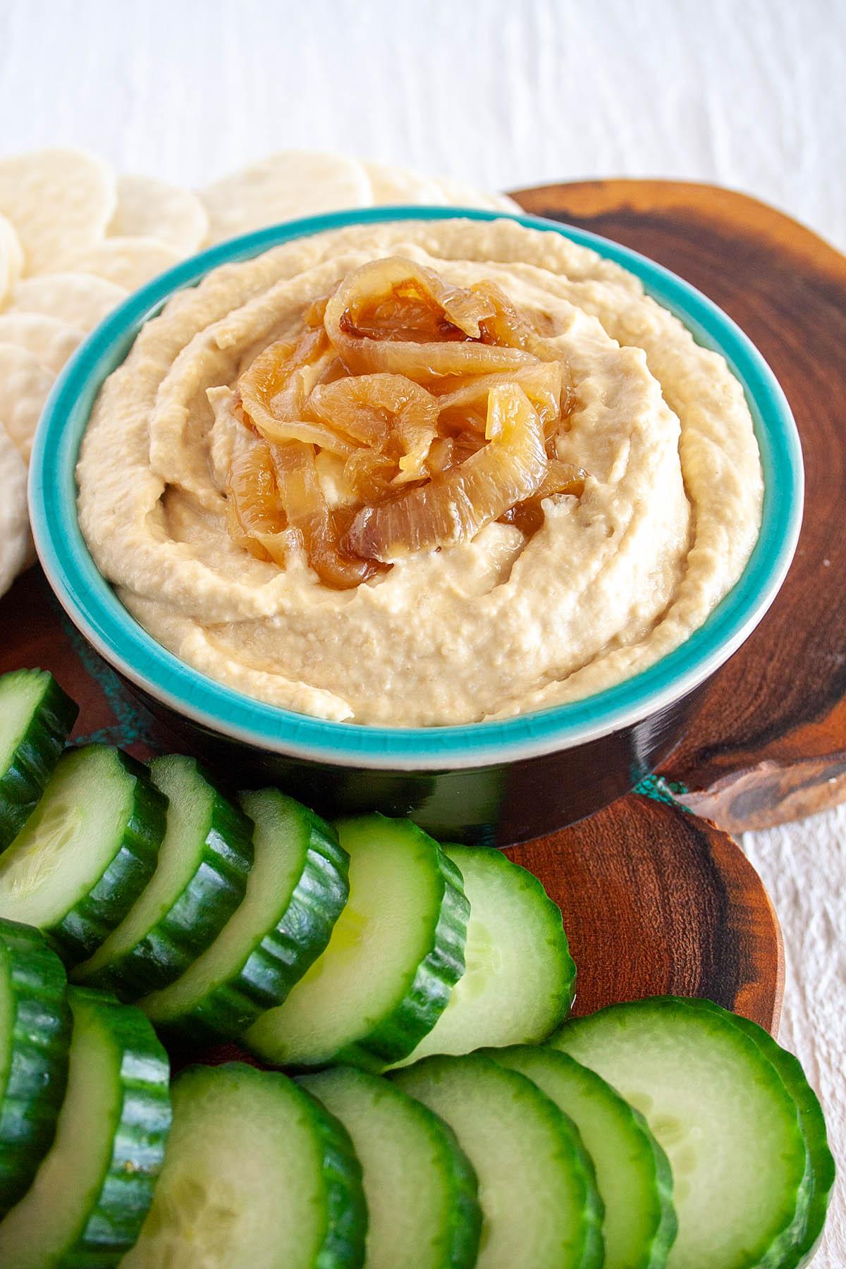 Caramelized Onion Hummus close up.