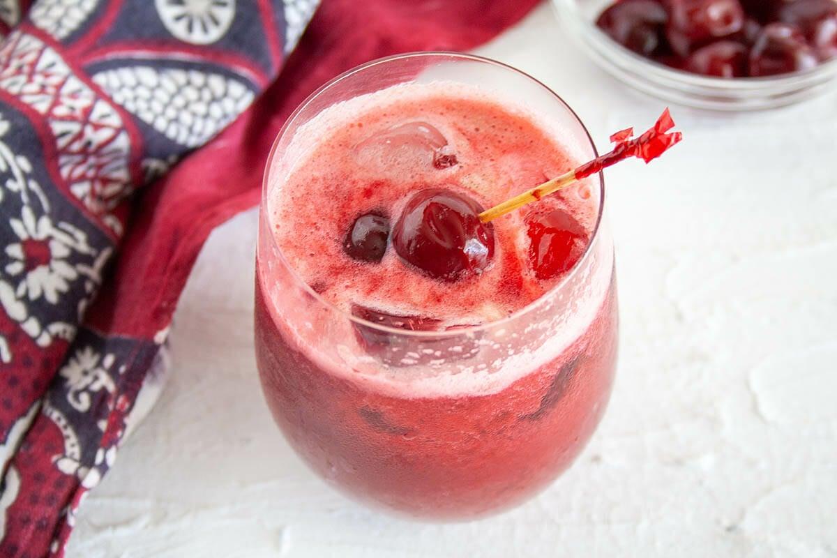Cherry Soda in wine glass.