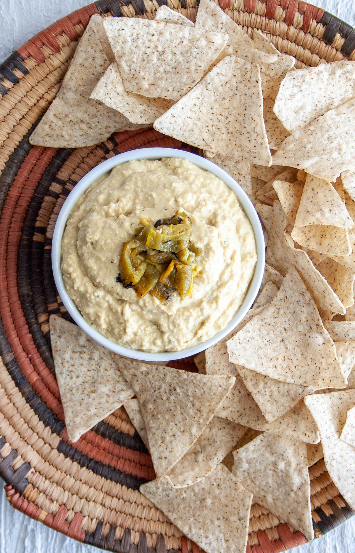 Roasted Hatch Chile Hummus with tortilla chips.