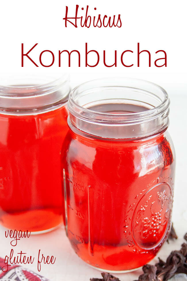Hibiscus Kombucha photo with text.