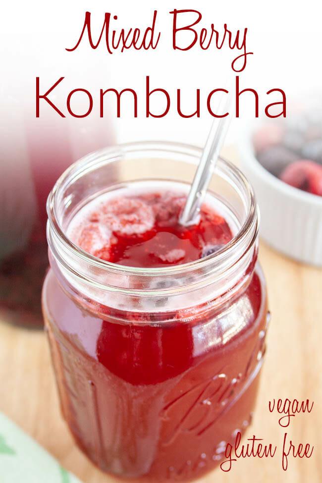 Mixed Berry Kombucha photo with text.