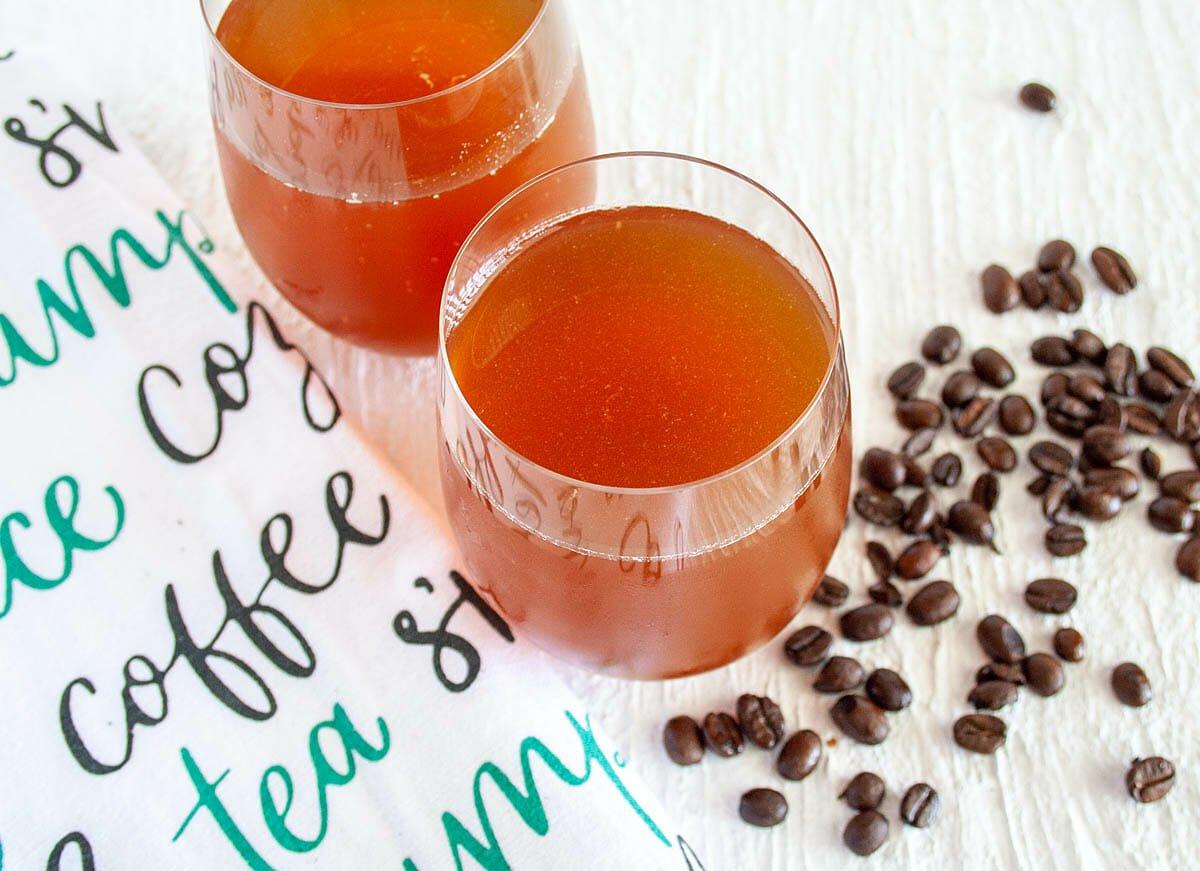 Coffee Kombucha in two glasses.