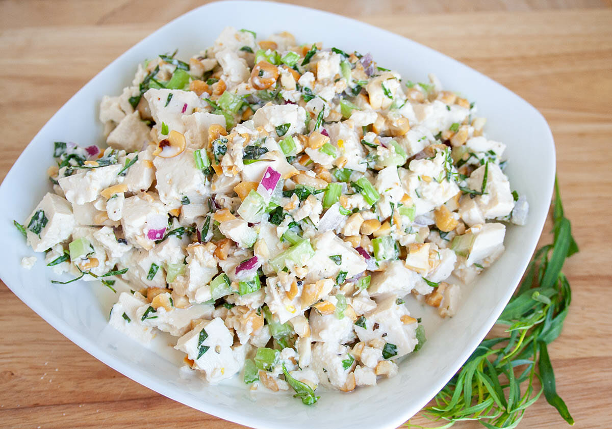 Tarragon Tofu Salad in a bowl.