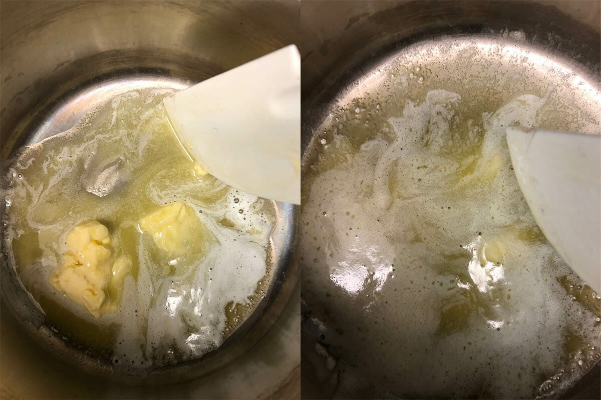 Vegan butter being melted in pan.