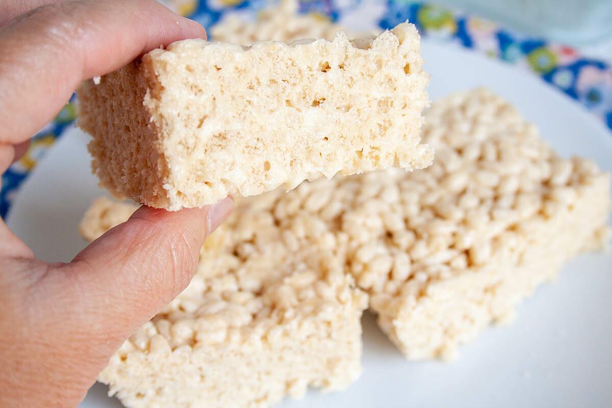 Vegan Rice Crispy Treat in hand.