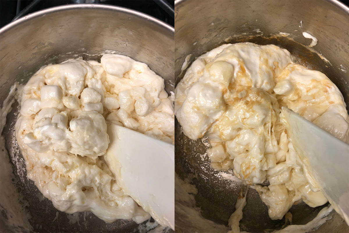 Vegan marshmallow melting on stove and ingredients being added.