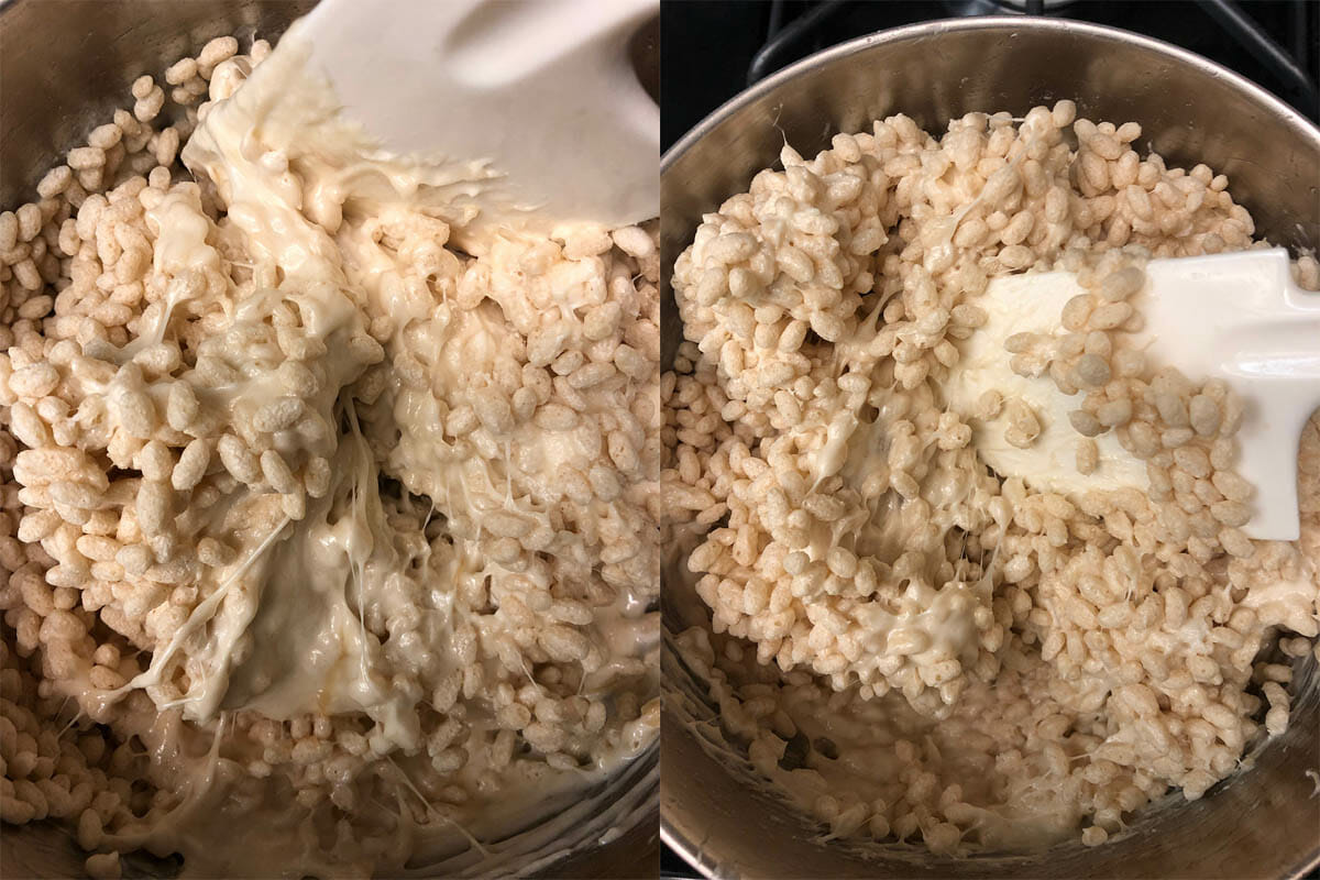 Vegan rice crispy cereal being added to marshmallow mixture in pan.