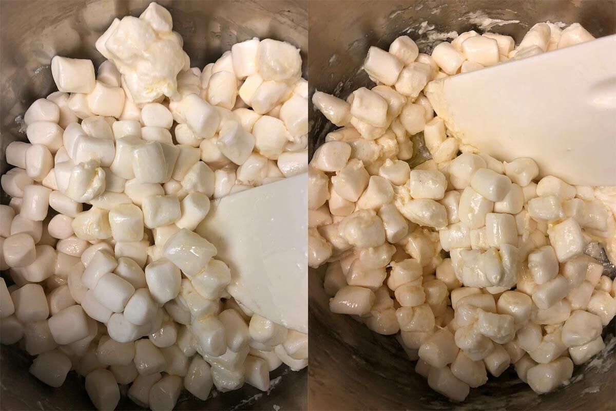 Vegan marshmallows in pan with vegan butter.