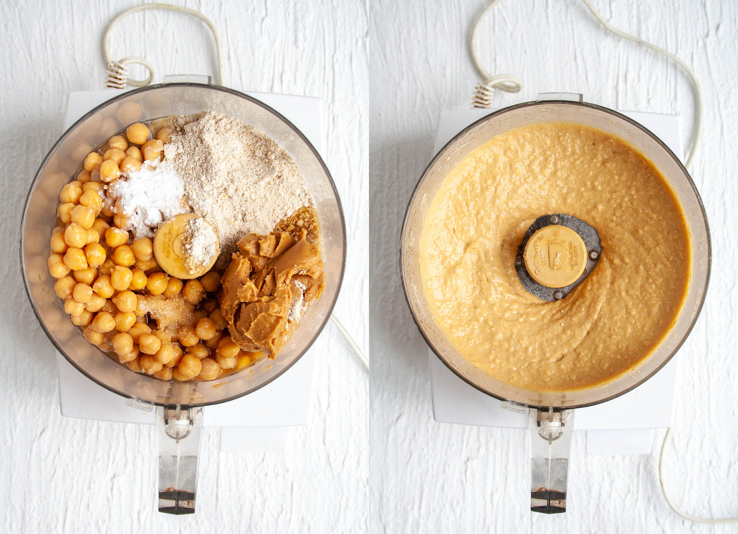 Chickpeas, oat flour, peanut butter, maple syrup, vanilla extract, baking powder, and salt in a food processor before and after mixing.