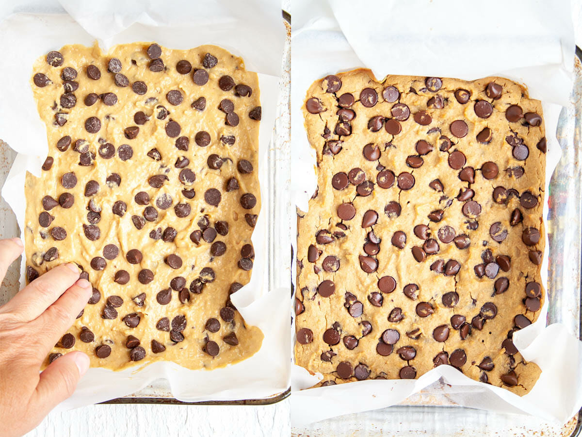 Chickpea Blondies in a baking dish before and after being baked.