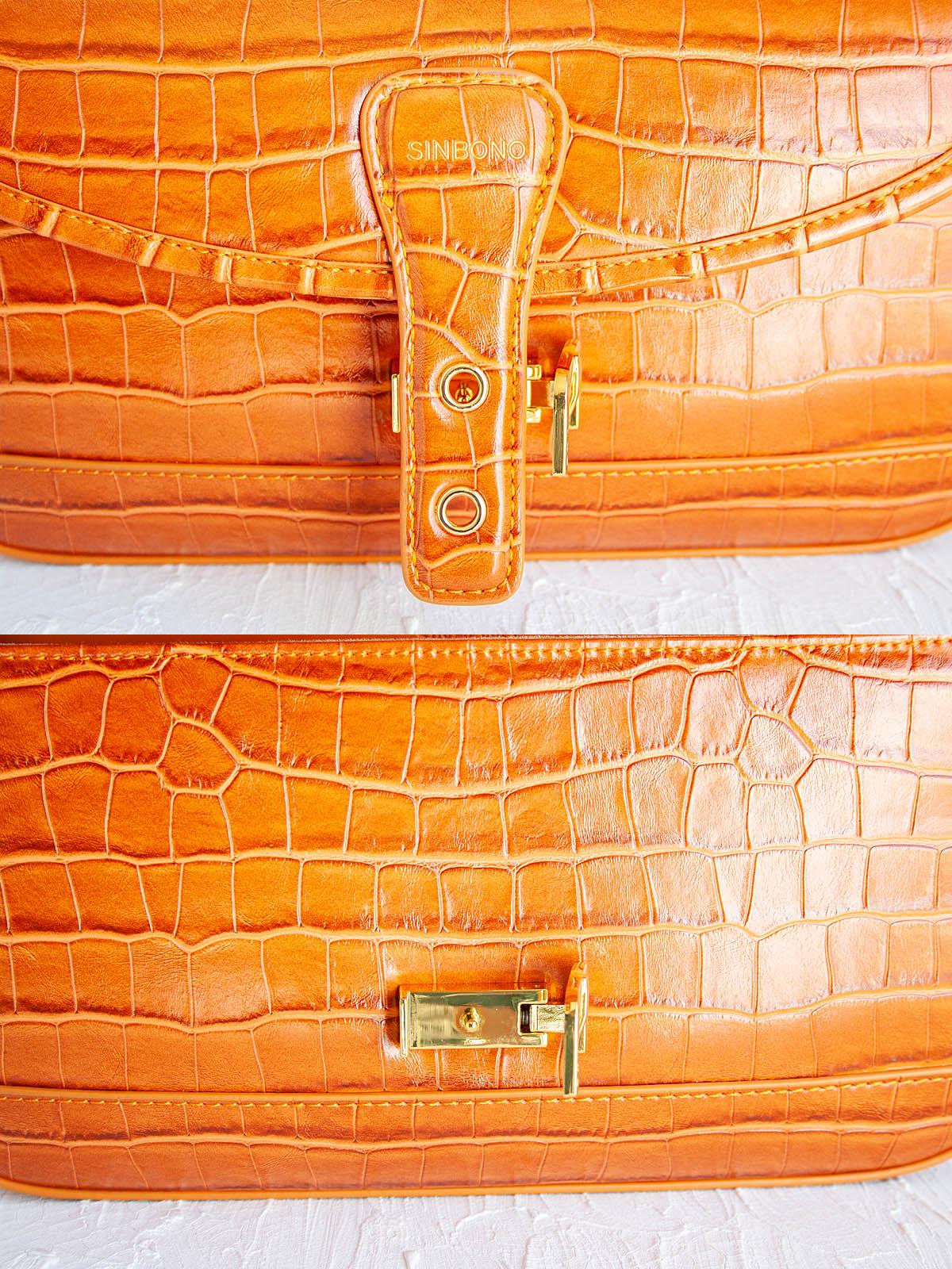 SINBONO Fiona Shoulder Bag showing closeup of clasp.